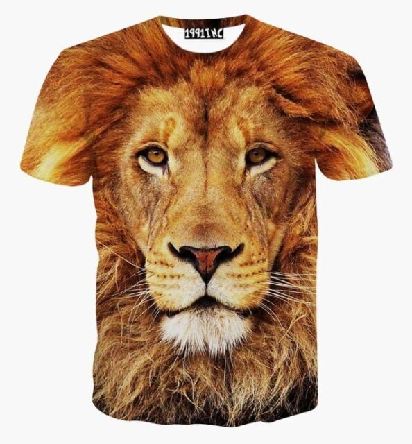 Graphic 3D wild jungle animal print LION face T's. big cat TSHIRTS.. UK