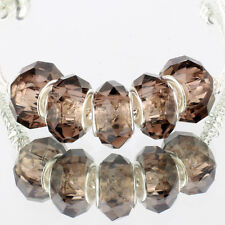 Crystal gray 5pcs MURANO glass bead LAMPWORK fit European Charm Bracelet
