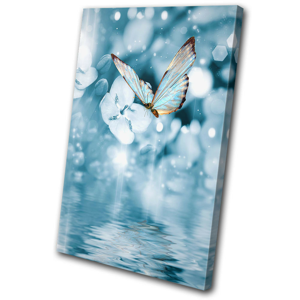 Blue Butterfly Tranquil arte  Animals SINGLE LONA pared arte Tranquil Foto impresion 460bff