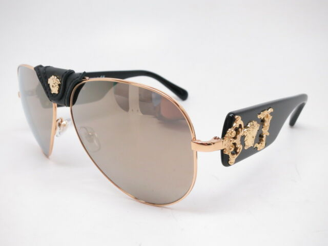 b1101bc763f5 Authentic Versace Sunglasses Ve2150q 1002 5a Gold-black   Brown Mirror Gold  Lens