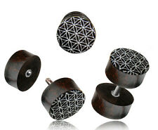 PAIR TAMARIND WOOD FAKE INLAY FLOWER OF LIFE CHEATER PLUGS 18g PLUG 2G HEADS