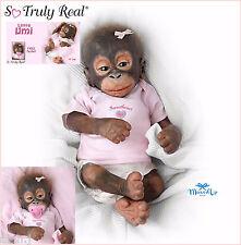 Ashton Drake Little Umi Baby Orangutan Silicone Monkey Doll + FREE Dummy