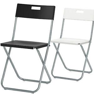 ikea klappstuhl gunde platzsparender arretierender beistellstuhl schwarz wei ebay. Black Bedroom Furniture Sets. Home Design Ideas