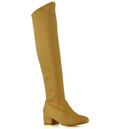 Womens Knee High Boots Stretch Calf Leg Ladies Flat Low Heel Zip Sock Shoes Size
