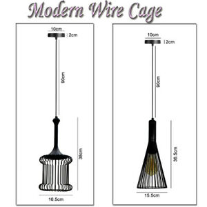 INDUSTRIAL-WIRE-CAGE-PENDANT-LIGHT-LAMP-STYLE-EASY-FIT-RETRO-CEILING-SHADE-METAL