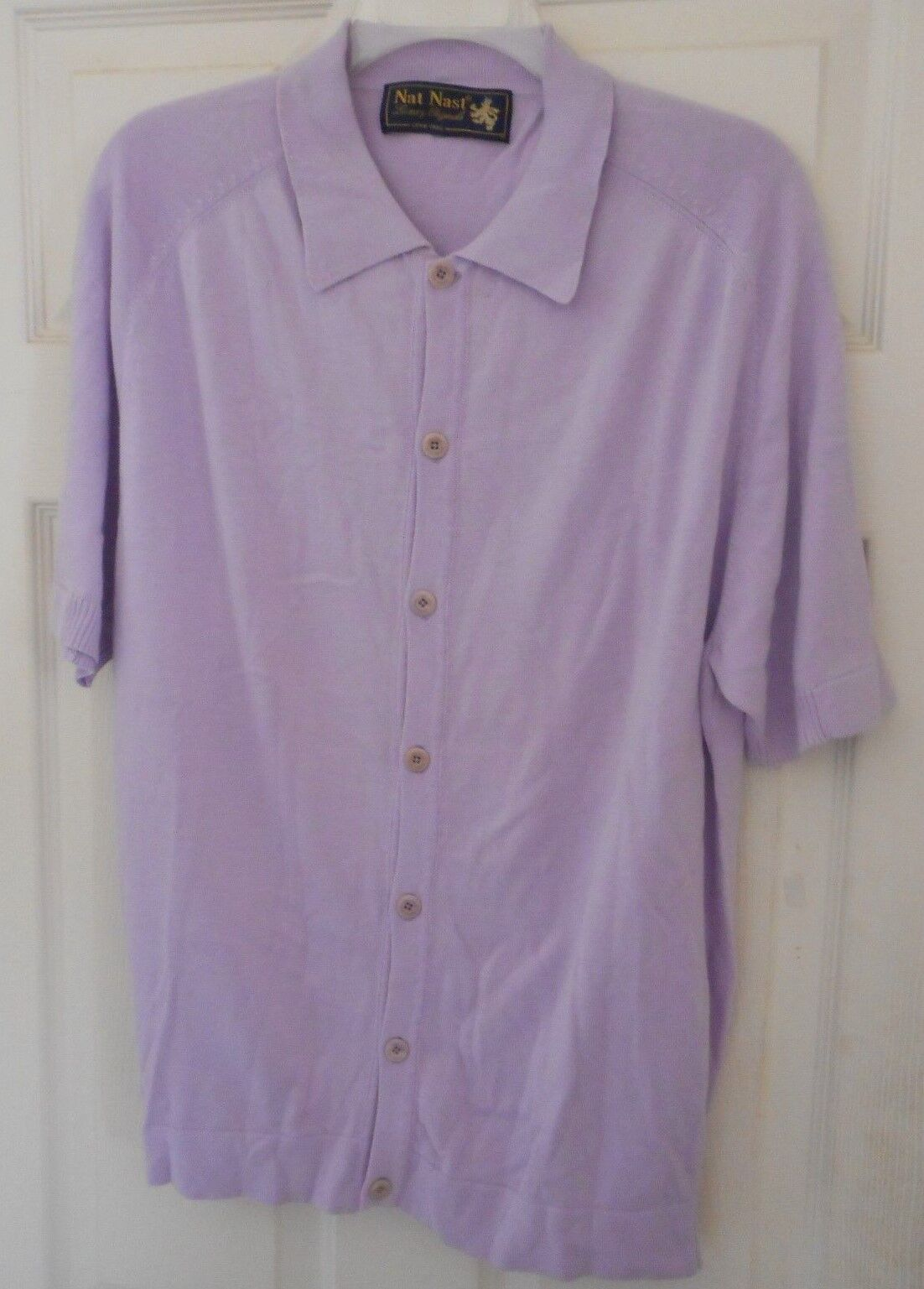 New  NAT NAST 50's-60's Knit Style  Pink Lavender Button Front  Cotton Blend M