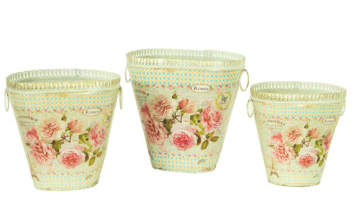 set of 3 French country planters vintage painted metal decorative bucket pots