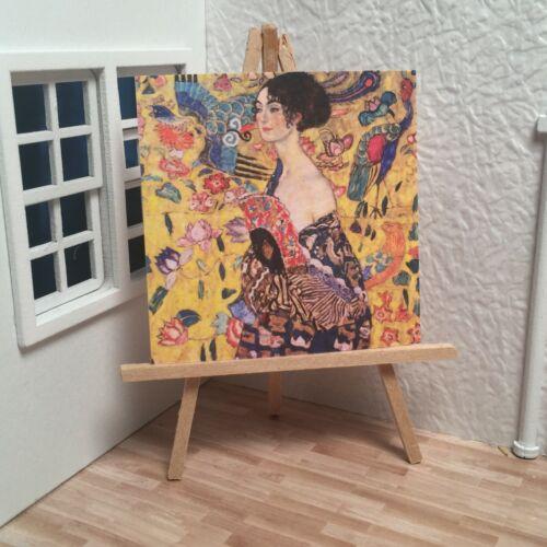 Miniature Dollhouse Room Box Wall Art Gustav Klimt Lady with Fan Handmade