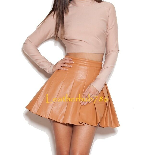 New Sexy Hot Mini Skirt Genuine Lambskin Brown Leather Women Party Office 98