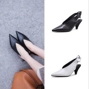 Women-Leather-Slingbacks-Block-Heels-Fashion-Ladies-Pumps-Pointed-Toe-Shoes-US8