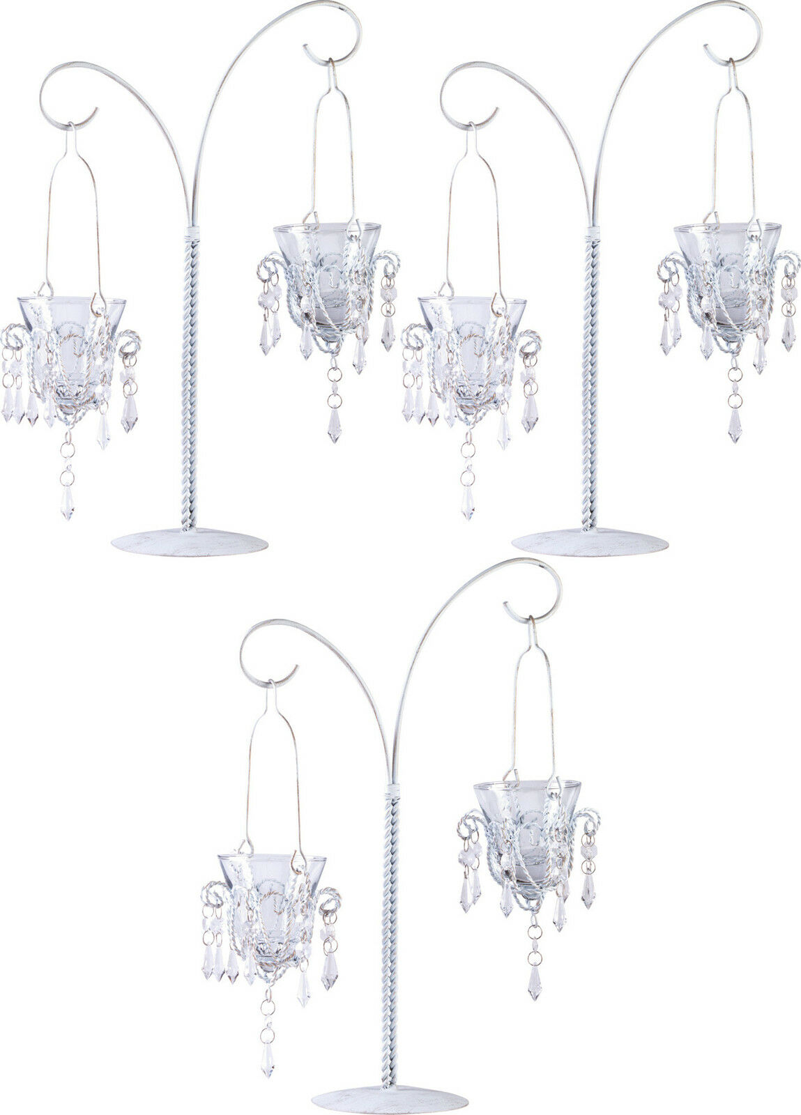 """3 White 17"""" tall Crystal chandelier Candle Holder candelabra table centerpiece"""