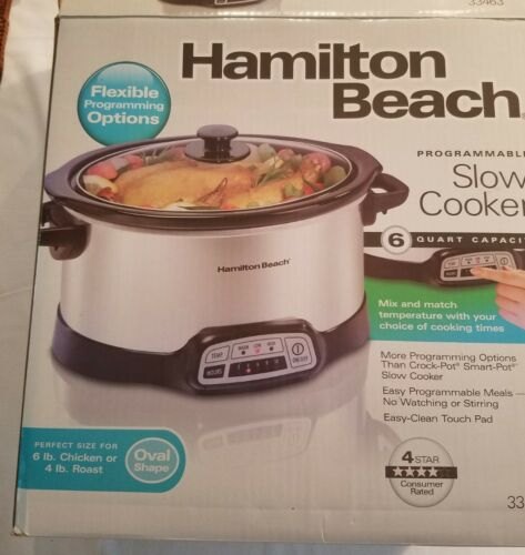 Hamilton Beach 33463 Programmable 6 Quart Variable Slow Cooker Smart Crock Pot