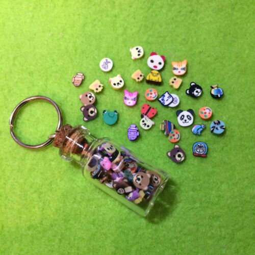 Mini Kawaii Polymer Clay Mixed Critters Glass Bottle Keyring Cute Funky Gift