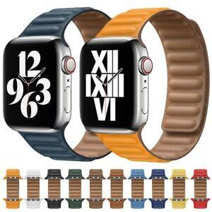 Original Leather Link Bracelet for Apple watch band Series 6 SE 44mm 40 38mm 42m