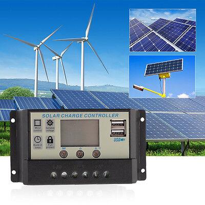 10/20/30A 12V/24V LCD USB MPPT Solar Panel Regulator Battery Charger Controller