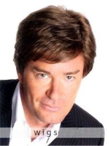 100% Real Hair!Attractive Men Fashion Brown Human Hair Wig Toupee ... e17954bcb