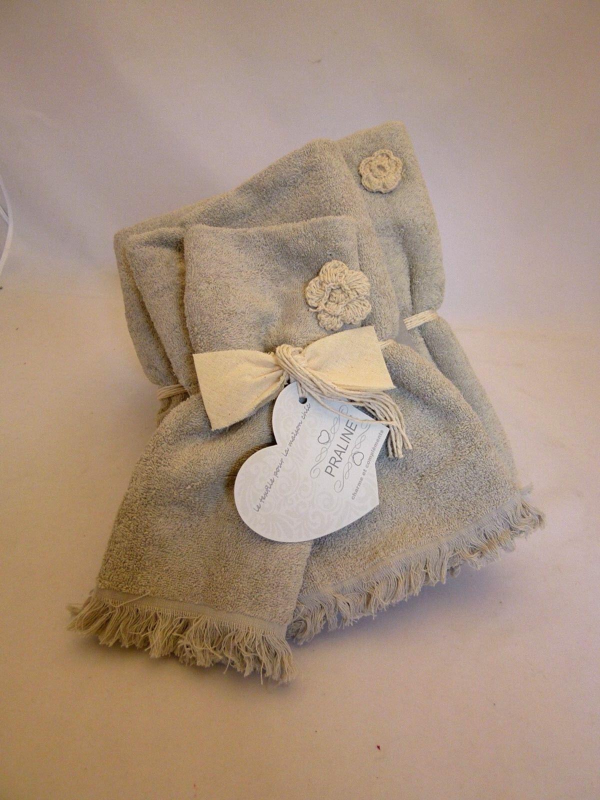 Set Handtücher Vom Badezimmer in Schwamm PZ3 Gesicht + Gast + Blatt Cotton Beige