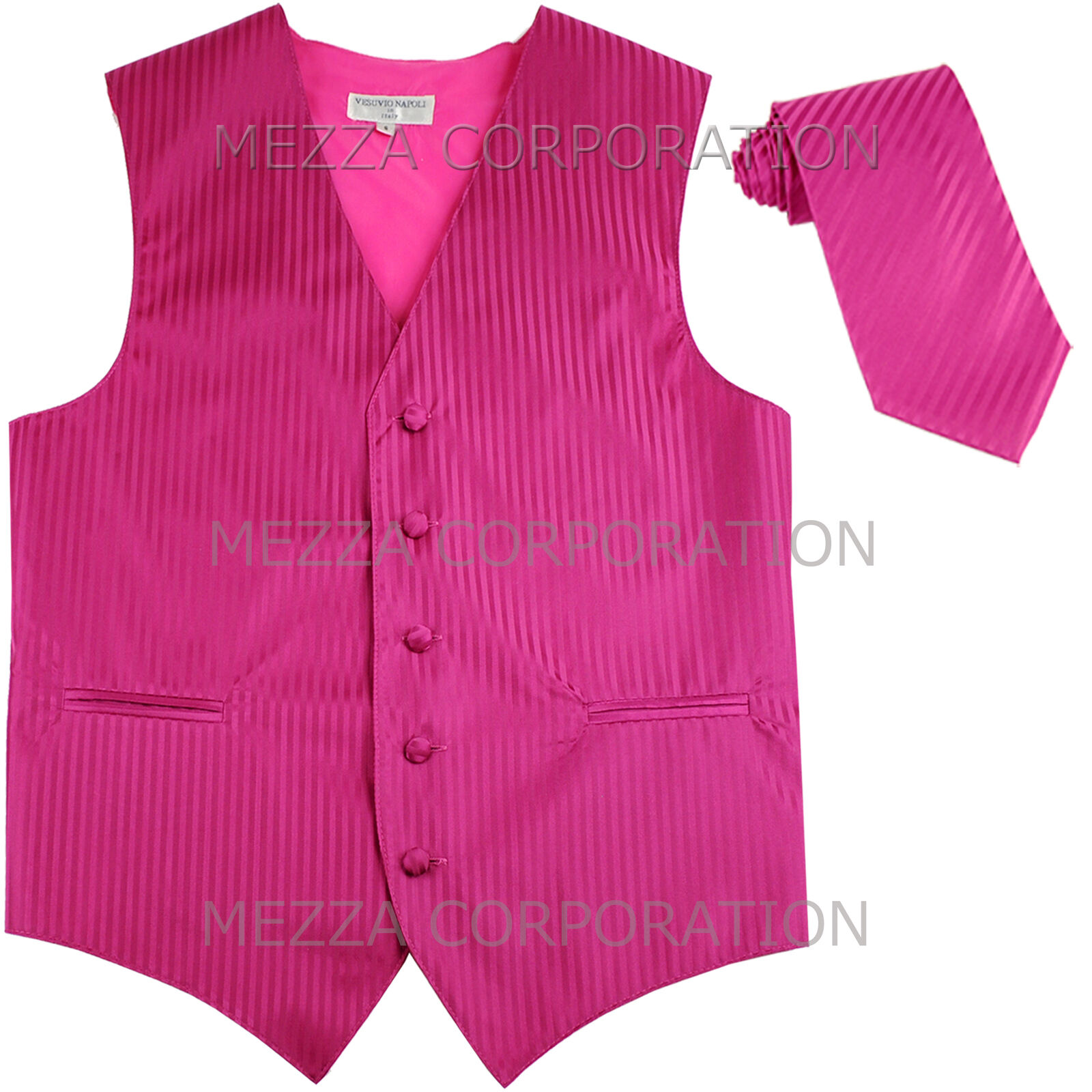 New Men's Tuxedo Vest Waistcoat Vertical Stripes Necktie prom party Hot Pink