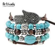 hams hand 5pcs set leather bracelets boho turquoise char buddha Silver Bracelet