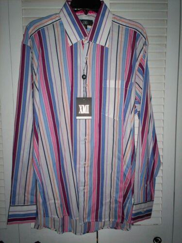 Neuf avec étiquettes $125 XMI Homme Chemise Habillée-Blanc à Rayures-Large