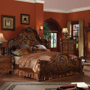 Dresden bedroom cherry solid wood queen king size for Mobilia king size bed