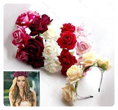 Fait À La Main Floral Couronne L# Rose Fleur Serre Tête Guirlande De Cheveux