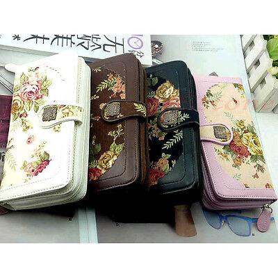 Fashion Women Long Flower Retro Purse Buckle Wallet Handbag Mobile Phone Bag