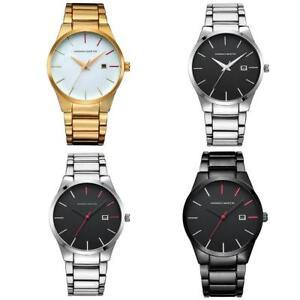 e3e8de77a30 Men s Date Dial Wrist Watch Silver Gold Stainless Steel Analog ...