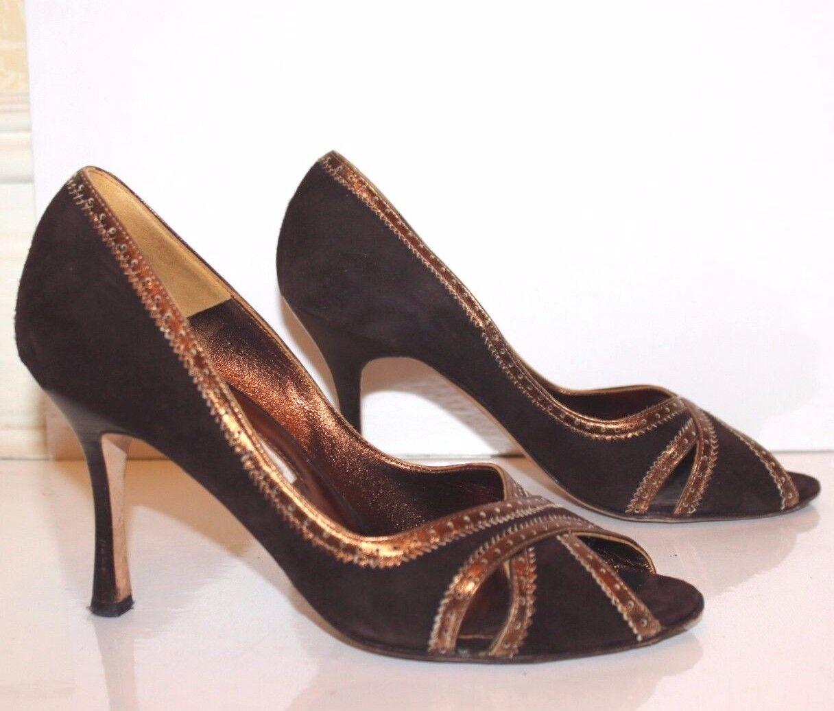 Manolo Blahnik Shoes Brown Suede & Bronze  Peep Toe Pumps size 38 EUR