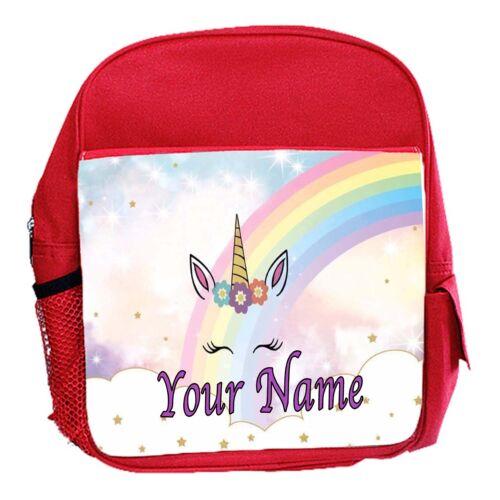 Girls Red Cute Unicorn Personalised Childs School Bag Backpack Rucksack Kids