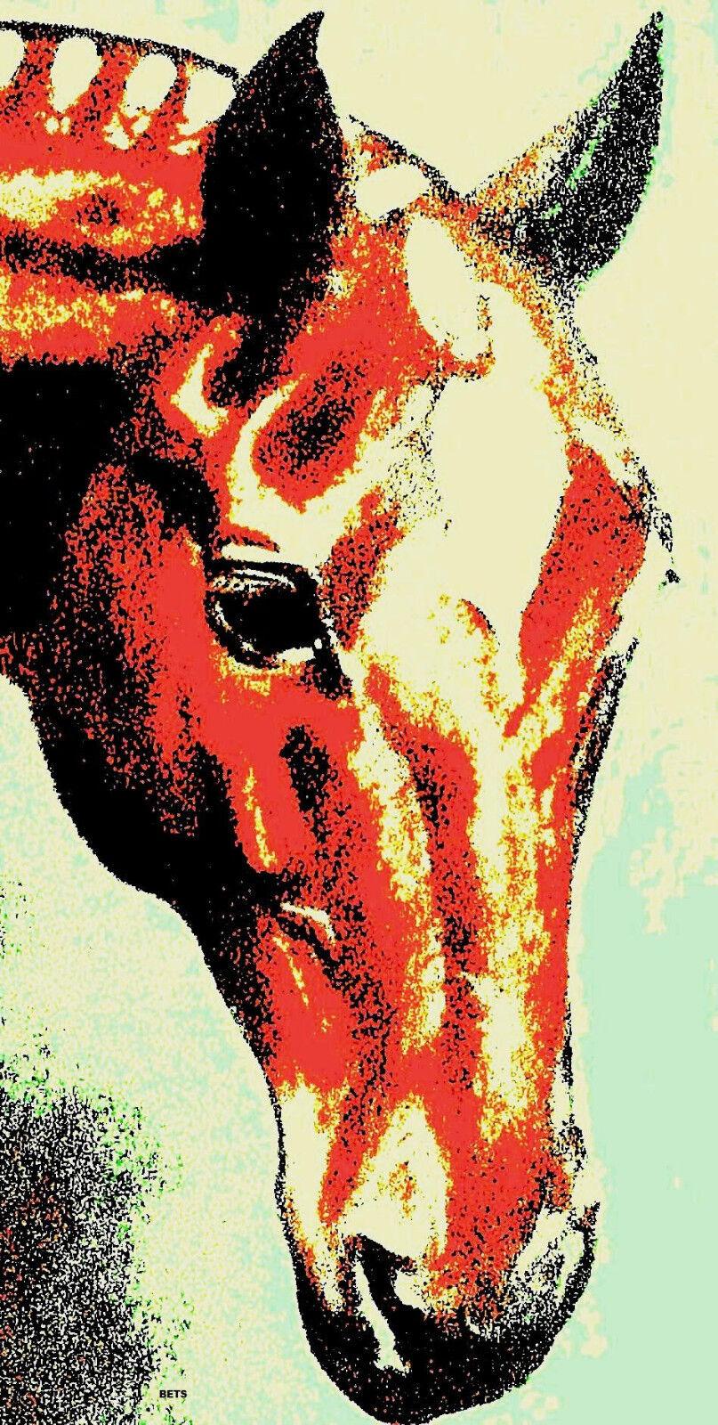 Cheval Impression Giclee pur-sang Art rouge artiste Paris 4 Couleurs Imprimé Taille 12 X21