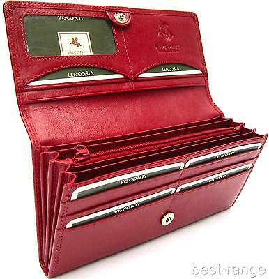 Ladies Purse Wallet Soft Real Leather Red Visconti New in Gift Box Style HT35