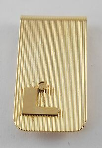 Vintage Collectible Gold Plated Brass Money Clip Letter L Ribbed NOS w DAMAGE