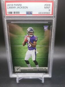 2018 Panini Canvas Ravens LAMAR JACKSON Rookie Football Card PSA 9 MINT Low Pop