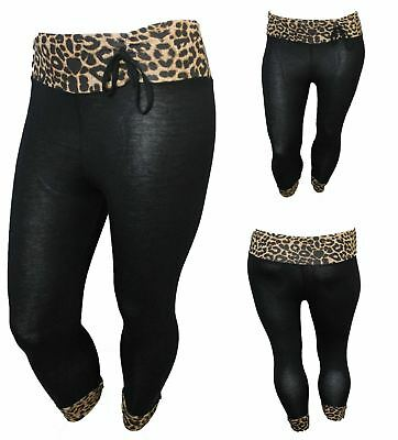 Begeistert New Ladies Leopard Animal Print 3/4 Plus Size Trouser Womens Leggings Size 16-26
