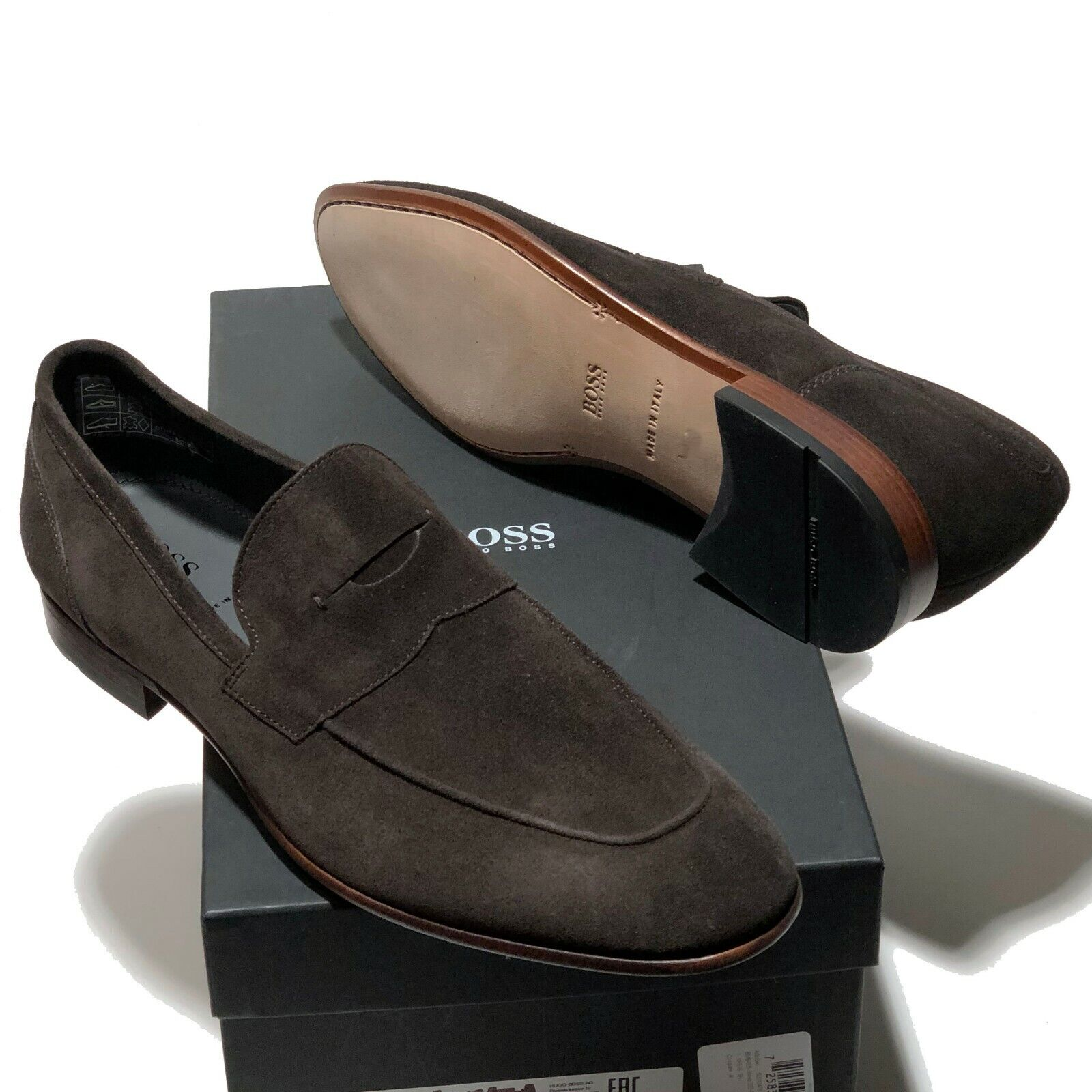 Hugo Boss ITALY Dark Brown Suede Leather Penny Loafers Dress 9 42 Men's Casual