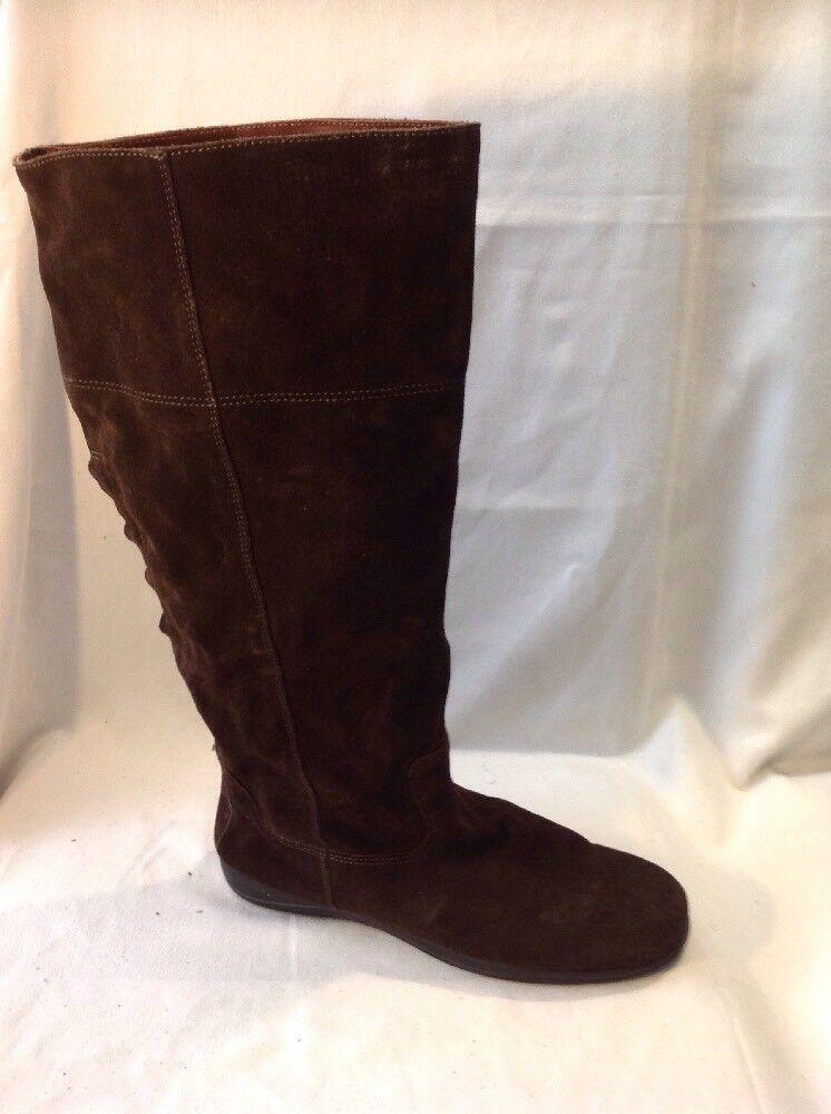 tlc By Bhs Dark Brown Knee High Suede Boots Size 5