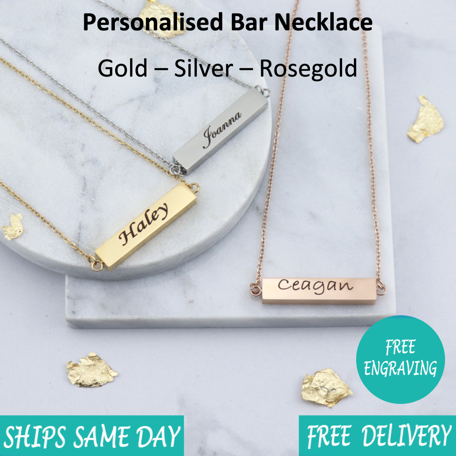 Custom Personalised Engraved Jewellery Bar Necklace Rose Gold Silver Ebay