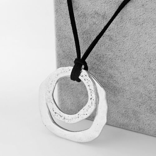 Antique Silver Long Suede Leather Open Double Round Circle Pendant Necklace