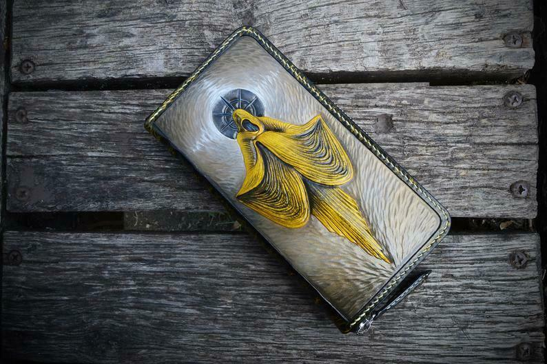 Men's 3D Genuine Leather Wallet, Long wallet, Hand-Carved, The King in Yellow