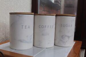 Lot-de-3-effet-marbre-Brillant-Ceramique-The-Cafe-Sucre-Stockage-Pots-Bidons