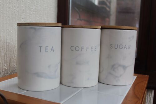 SET OF 3 MARBLE EFFECT GLOSSY CERAMIC TEA COFFEE SUGAR STORAGE JARS  CANISTERS