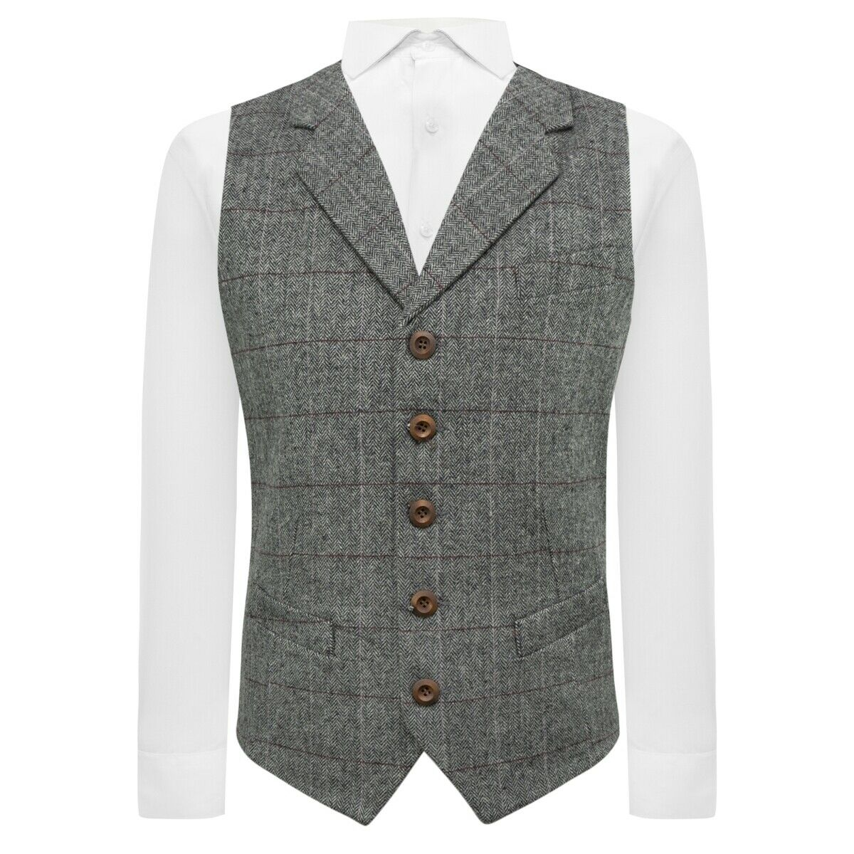 Luxury Herringbone Pewter Grey Waistcoat with Lapel, Tweed, Tailored Fit