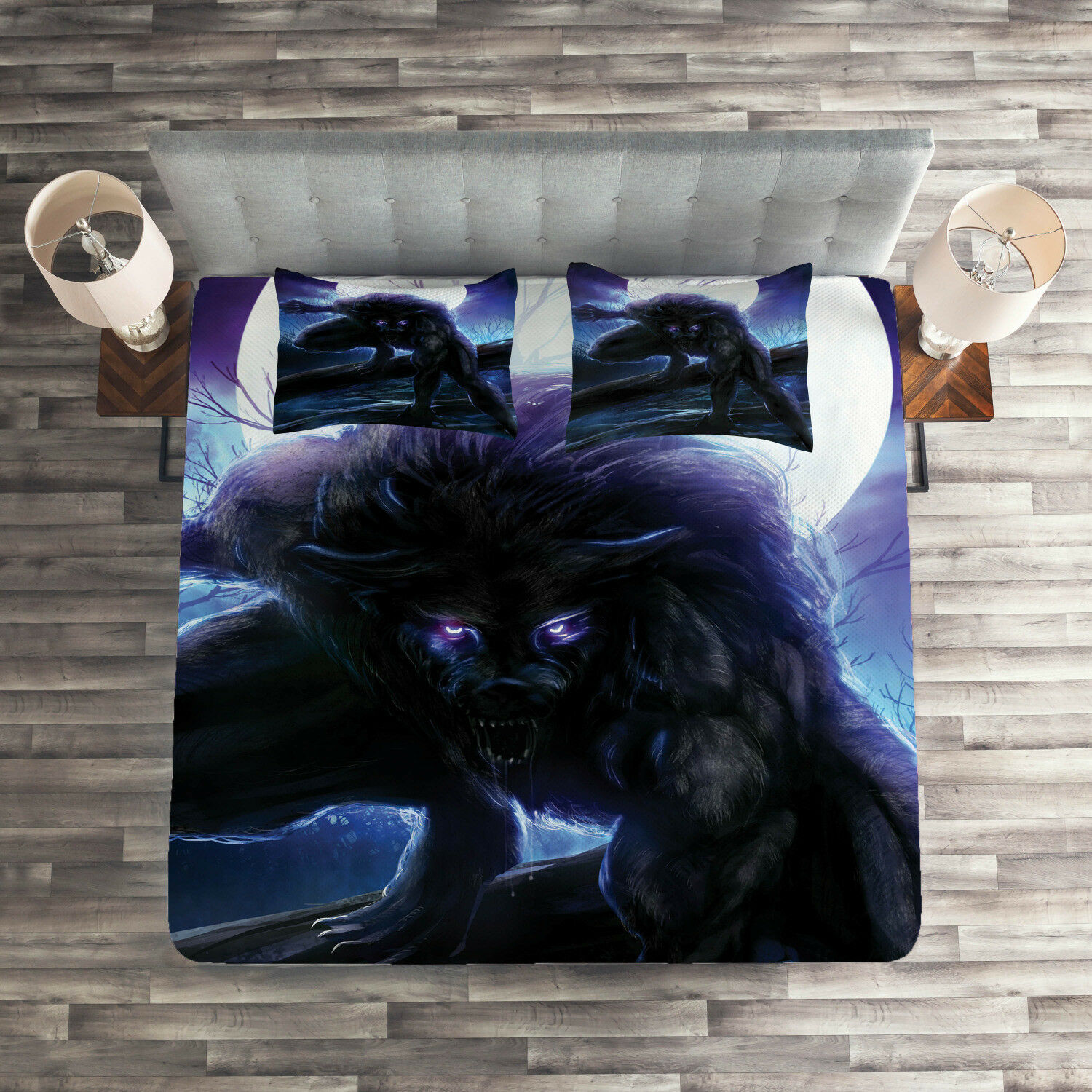 Fantasy Quilted Coverlet & Pillow Shams Set, Surreal Werewolf Eyes Print
