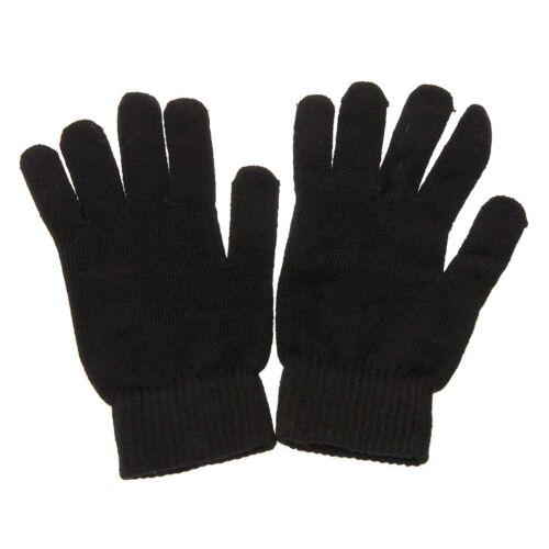 New Plain Black Mens Ladies Unisex Winter Gloves