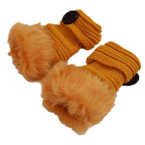 Women Ladies Finger Faux Fur Fluffy Winter Warm Wrist Knitted Mitten Gloves CH