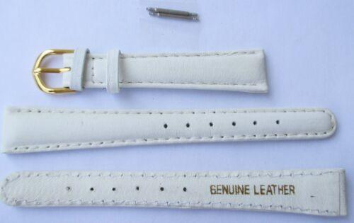 Uhrenarmband Uhrenband weiss 10 mm breit 2 Stege Armband Leder Kalbsleder