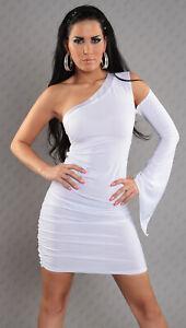 super popular 346a7 6456f Dettagli su 2249 KOUCLA Mini Abito Corto Asimmetrico Monospalla Bianco con  Collo in Raso