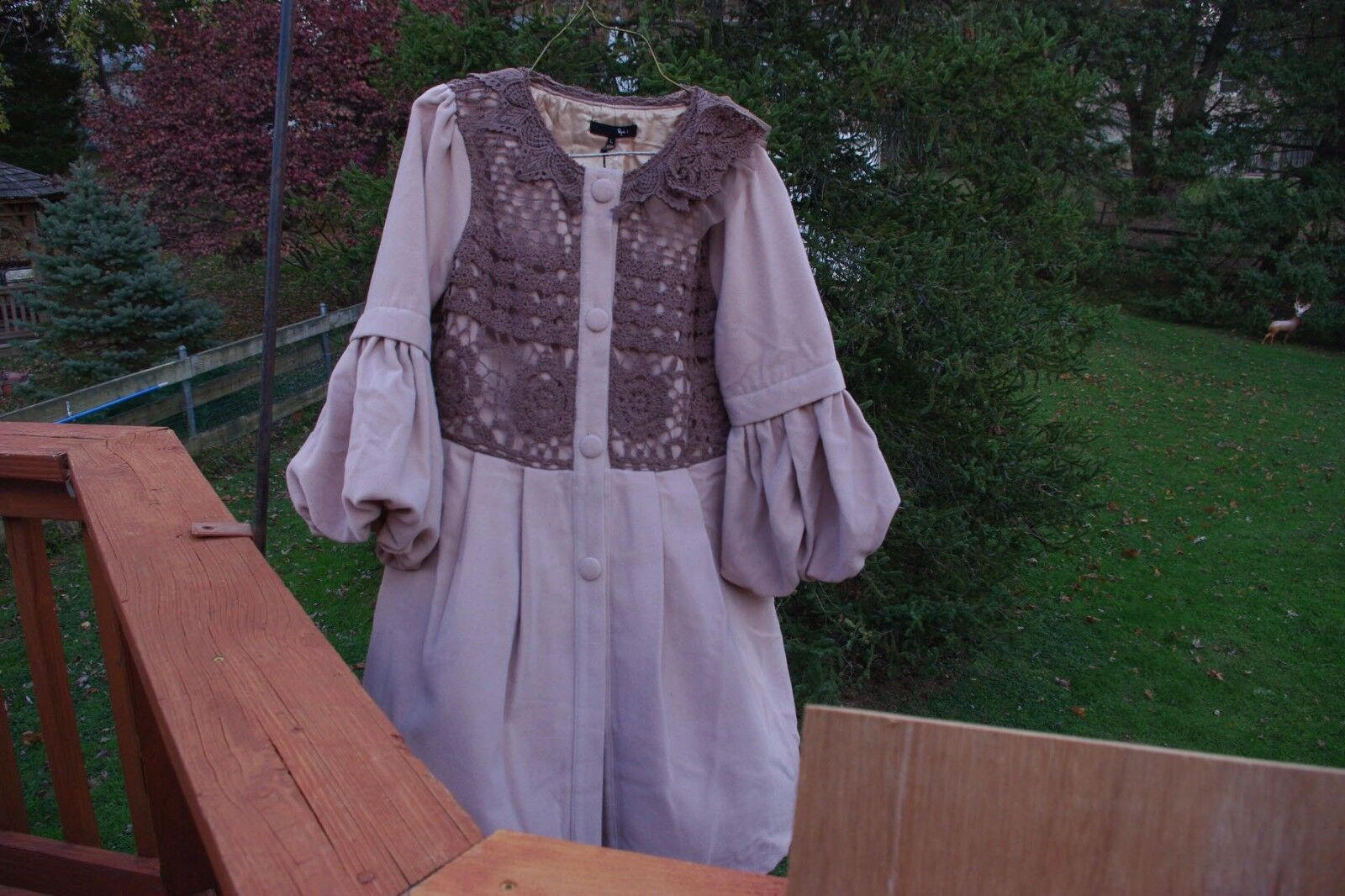 NWT RYU Coat Light Tan w  Brown Crochet Bodice & Collar 3 4 Puff Sleeves Large