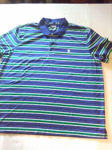 IZOD-Golf-Adult-XXL-Green-Blue-White-Striped-Polo-Rugby-Shirt-Mens-XXL-EUC